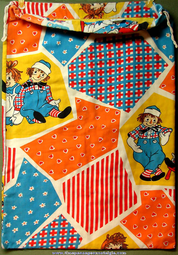 Large Colorful Old Raggedy Ann & Andy Character Doll Drawstring Cloth Duffle Bag