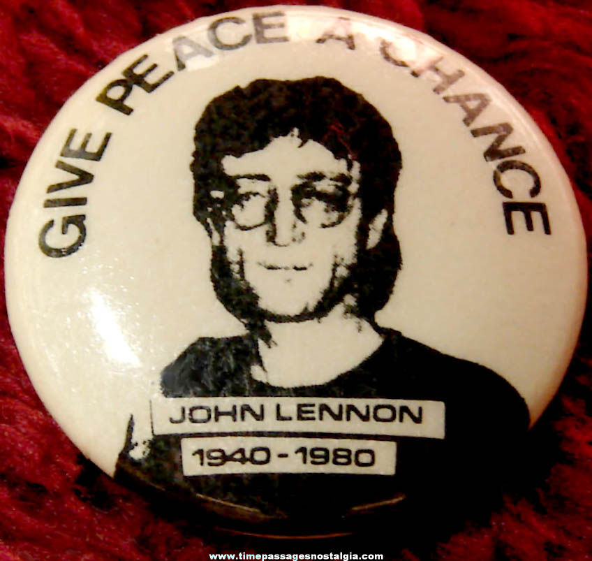 1980s John Lennon Memorial Give Peace A Chance Pin Back Button