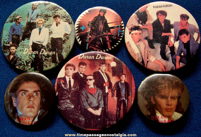 (6) Different Old Duran Duran Music Band Pin Back Buttons