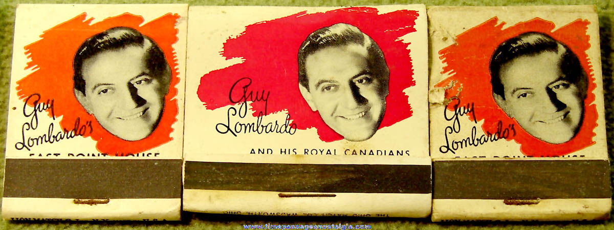 (3) Old Guy Lombardo Music Advertising Souvenir Match Books