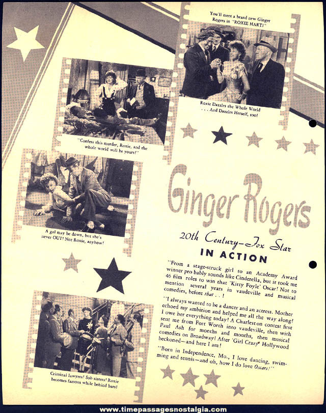 Colorful 1942 Ginger Rogers Dixie Lid Ice Cream Premium Movie Star Picture Card