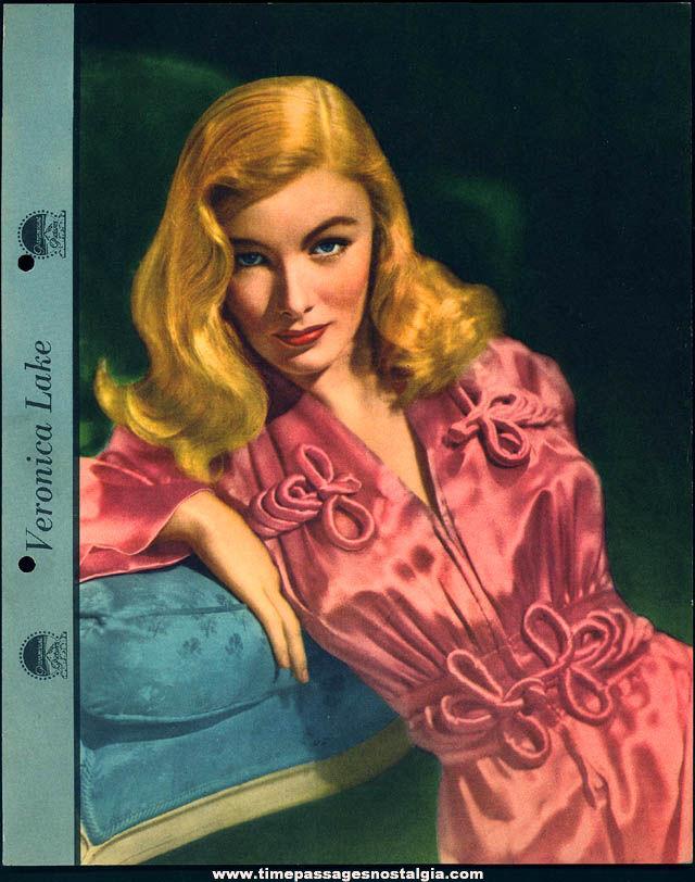 Colorful 1942 Veronica Lake Dixie Lid Ice Cream Premium Movie Star Picture Card