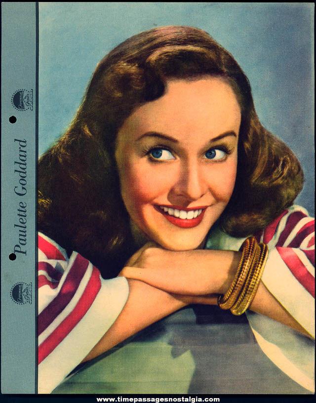 Colorful 1942 Paulette Goddard Dixie Lid Ice Cream Premium Movie Star Picture Card