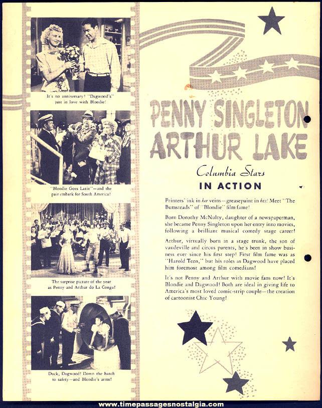 Colorful 1941 Penny Singleton & Arthur Lake Dixie Lid Ice Cream Premium Movie Star Picture Card