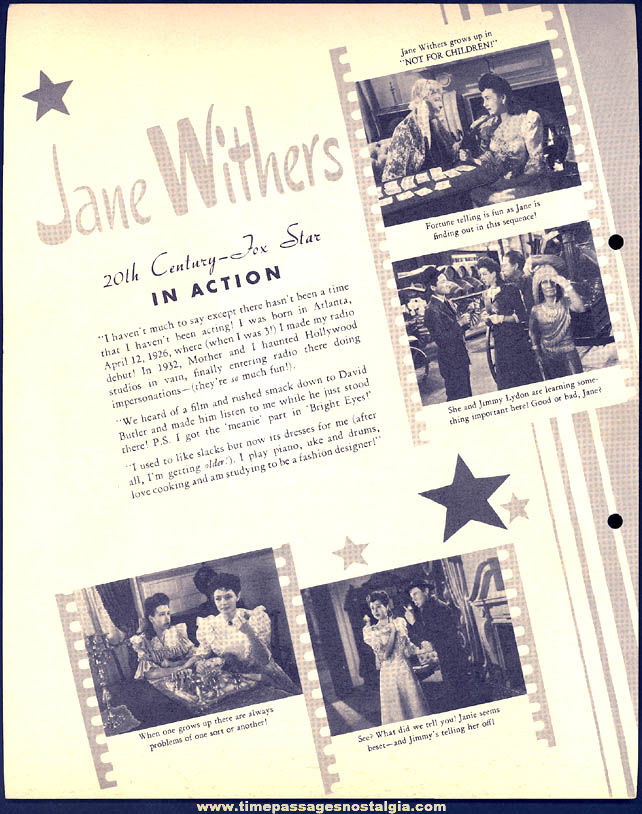 Colorful 1942 Jane Withers Dixie Lid Ice Cream Premium Movie Star Picture Card