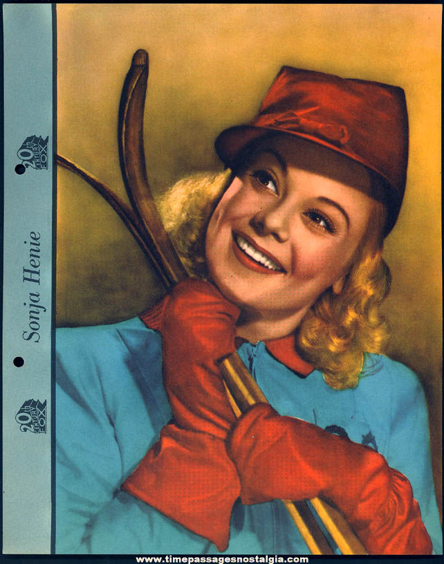 Colorful 1942 Sonja Henie Dixie Lid Ice Cream Premium Movie Star Picture Card