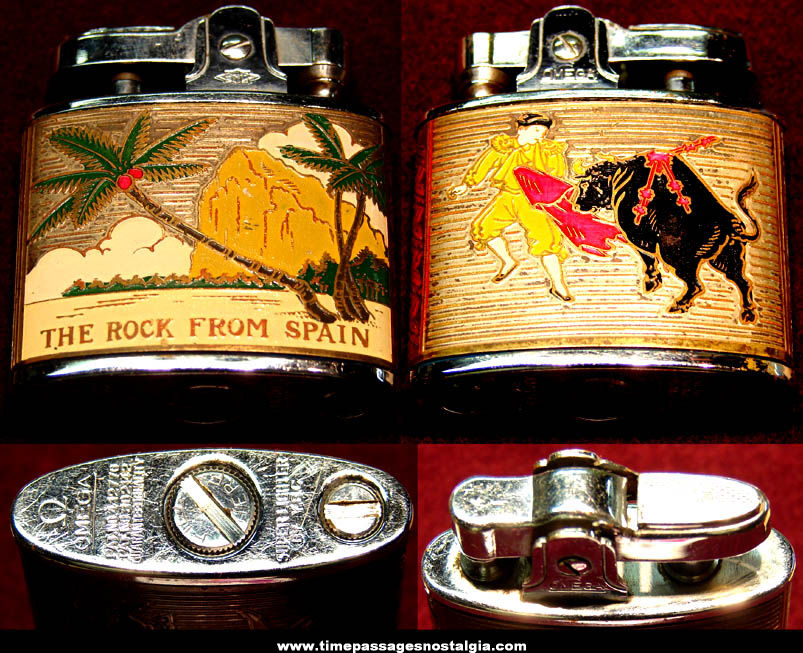 Old Spanish Rock of Gibraltar & Bull Fight Souvenir Cigarette Lighter