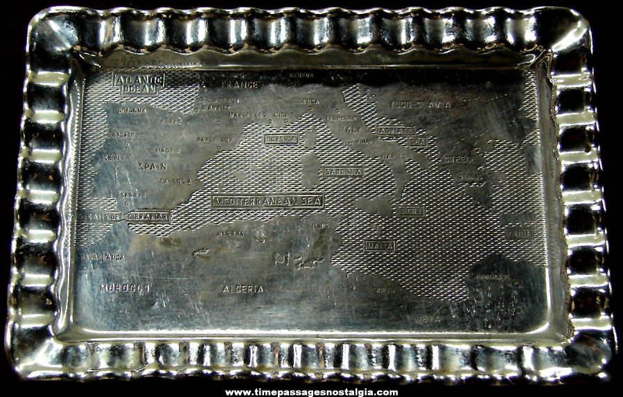 Small Old Mediterranean Sea Stamped Metal Souvenir Map Tray