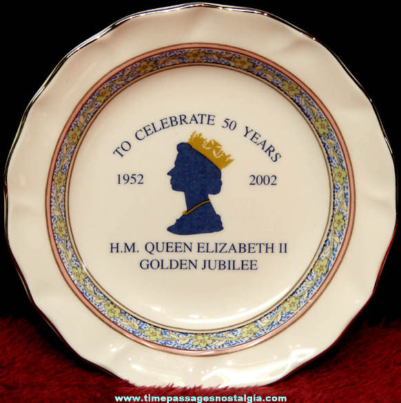 Small 2002 Queen Elizabeth II Golden Jubilee Advertising Souvenir China Plate