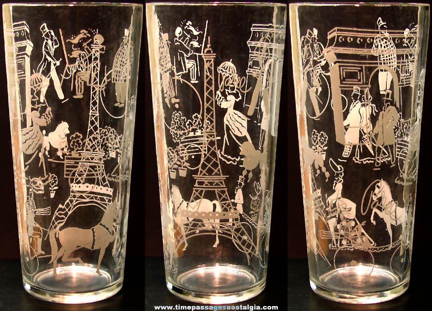 Old Paris France Advertising Souvenir Imprinted Drink Glass