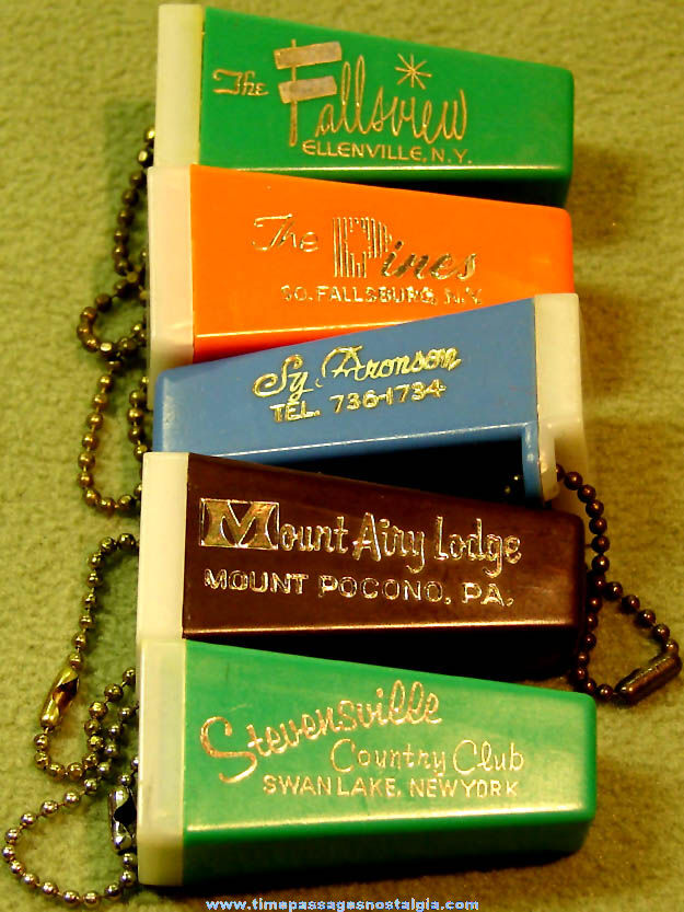 (5) Different 1950s or 1960s Advertising Souvenir Photo Viewer Key Chains