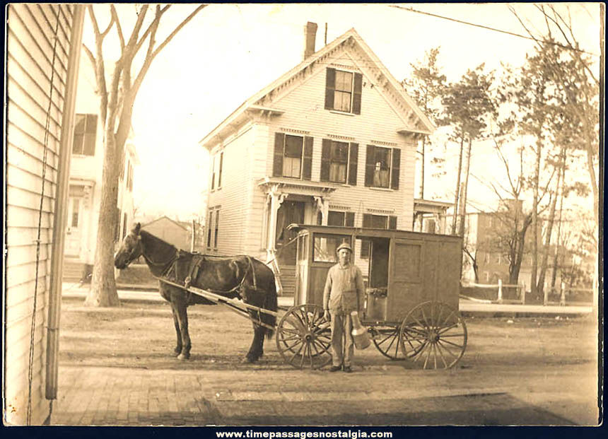 Old Unused Milkman Horse & Delivery Wagon Real Photo Post Card