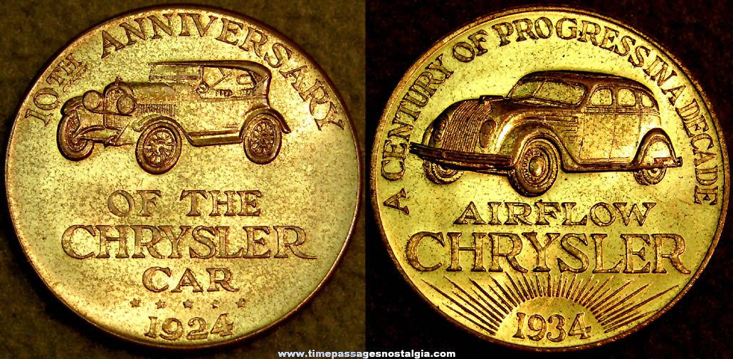 1933 - 1934 Century of Progress World's Fair Chrysler 10th Anniversary Advertising Token Coin