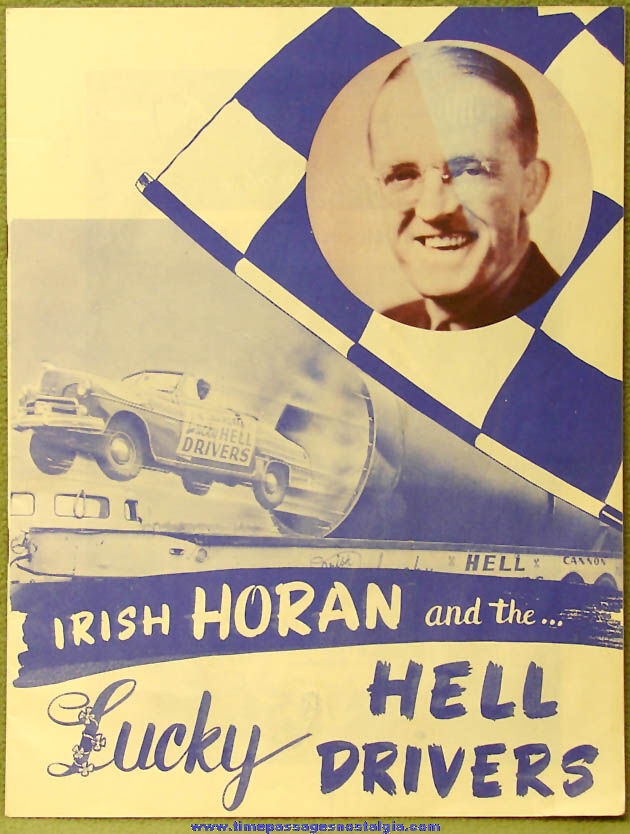 1950 Irish Horan and The Lucky Hell Drivers Dare Devil Show Souvenir Program Magazine