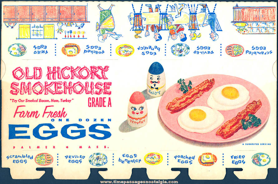 (2) Colorful Old Unused Old Hickory Smokehouse Advertising Farm Fresh Egg Cardboard Cartons