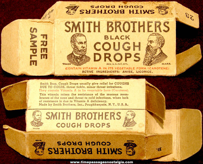 Small Old Smith Brothers Black Cough Drops Advertising Sample Box