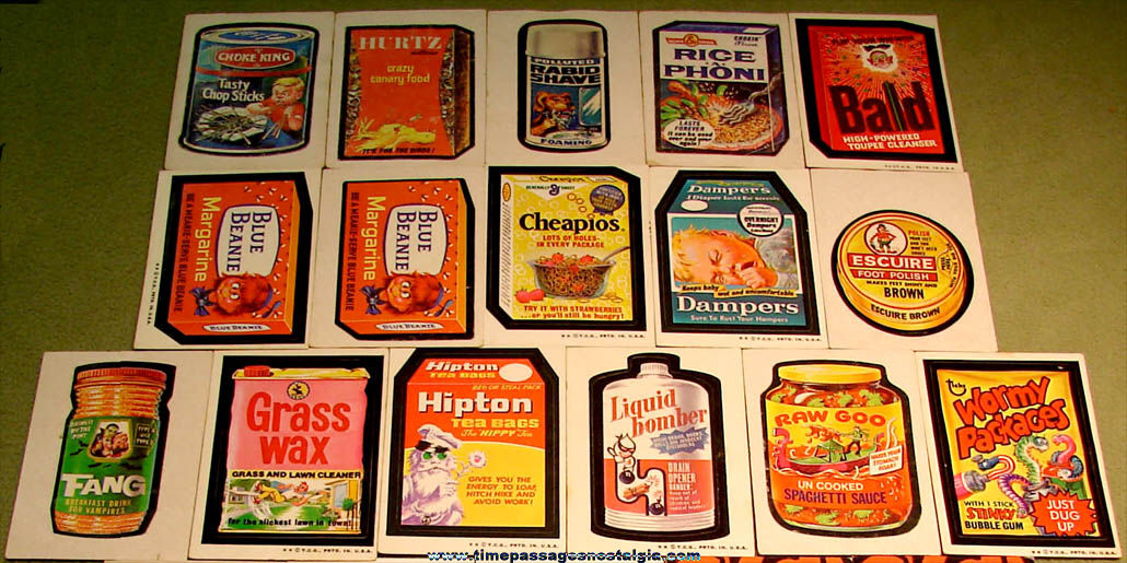 (26) Older Topps Wacky Packages Parody Advertising Stickers and Trading Cards