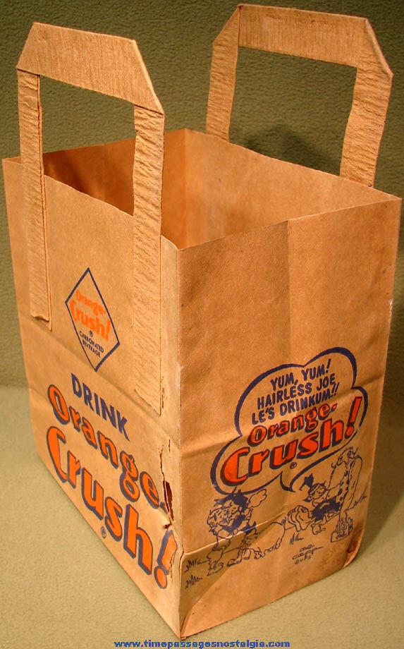 Old Li'l Abner Drink Orange Crush Soda Advertising Grocery Store Paper Bag