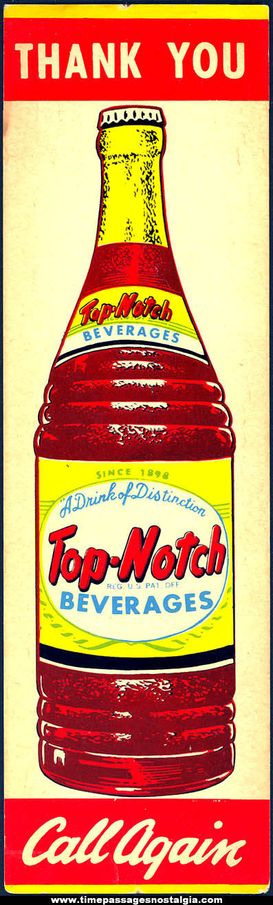 Old Top Notch Beverages Soda Advertising Cardboard Door Push Sign