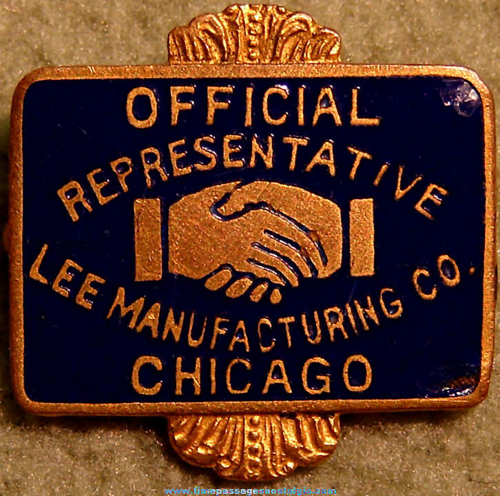 Old Enameled Lee Manufacturing Company Official Representative Pin