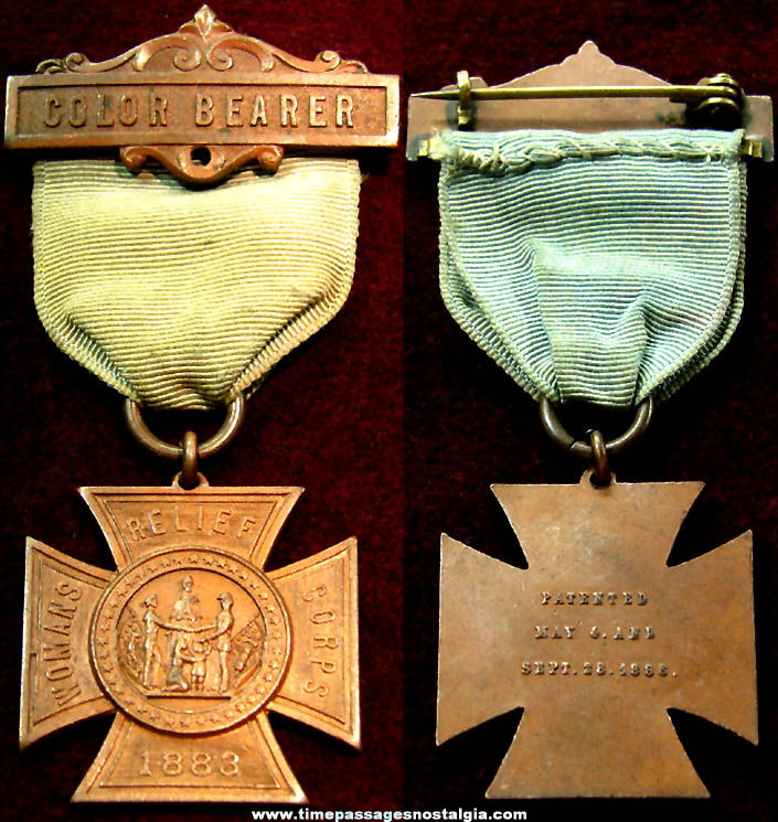 Old Womans Relief Corps Color Bearer Award Ribbon with Medal