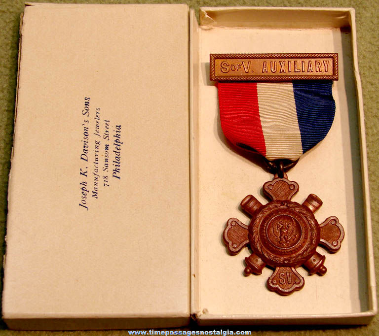 Old Boxed Sons of Veterans Auxiliary Award Ribbon with Medal