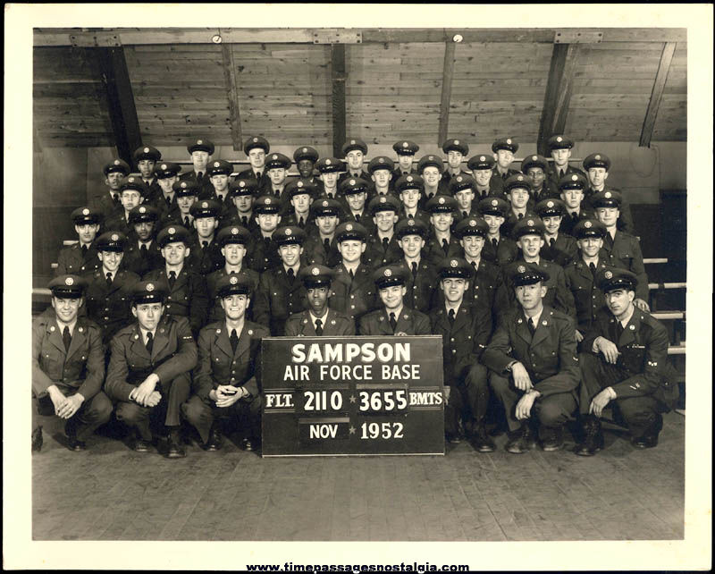 (2) 1952 Sampson United States Air Force Base Airmen Photographs with Names & Notes