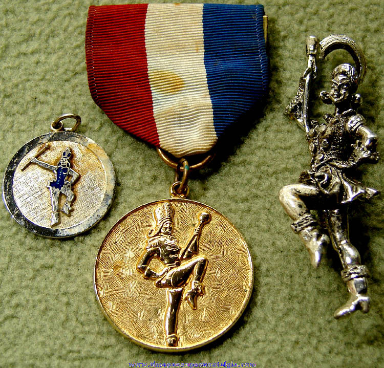 (3) Different Old Drum Major or Band Majorette Jewelry Items