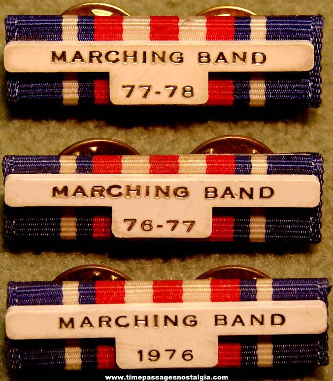 (3) 1976 - 1978 Marching Band Member Uniform Award Ribbons