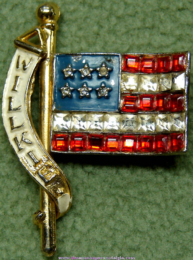 1940 Wendell Lewis Willkie Presidential Political Campaign Flag Jewelry Pin with Stones