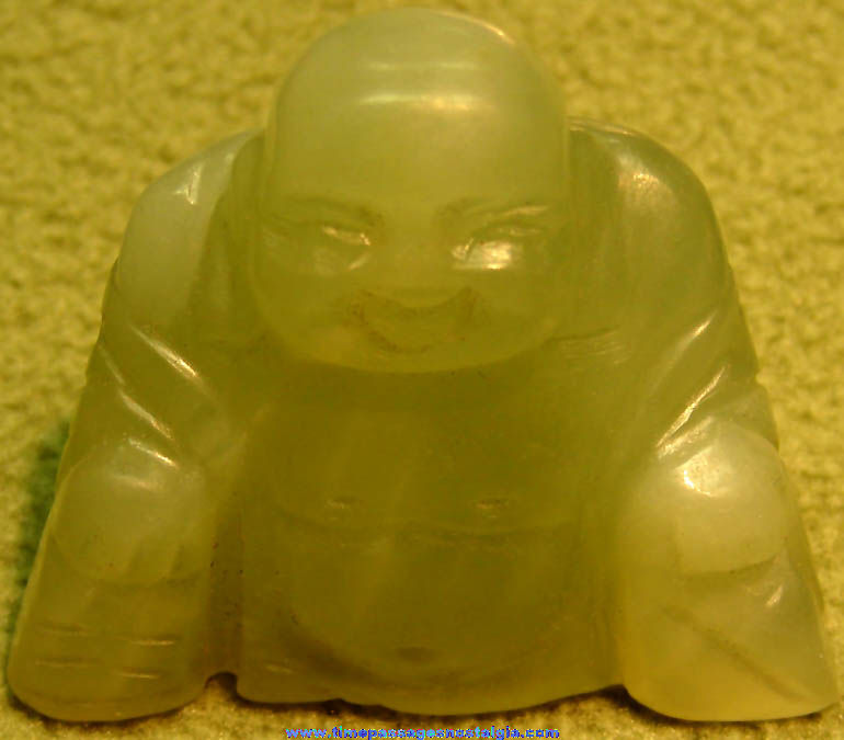 Old Carved Jade Stone Seated Buddha Religious Figure or Figurine