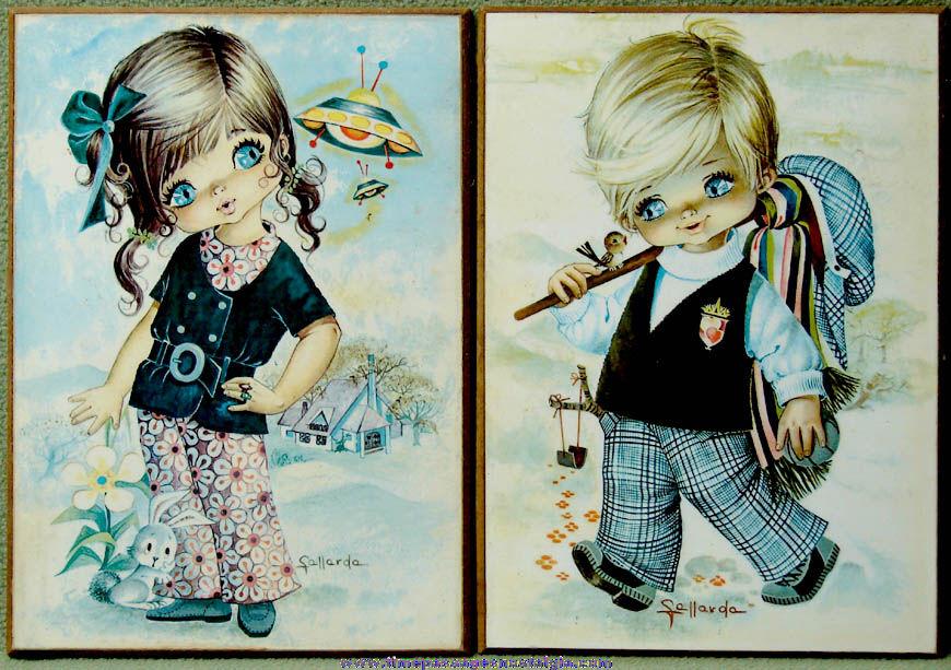 (2) Old Fallarda Big Eyed Girl & Boy Children Art Prints