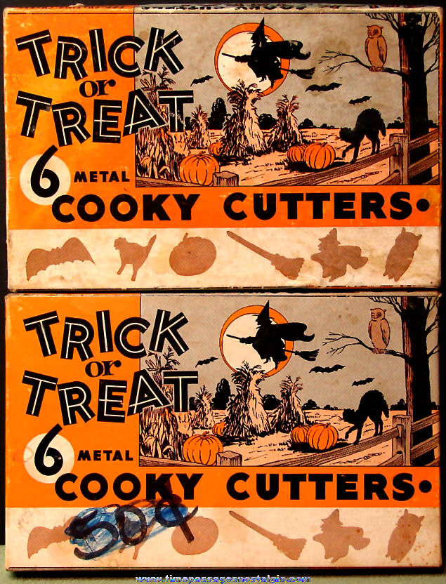 (10) Old Boxed Halloween Holiday Metal Cookie Cutters