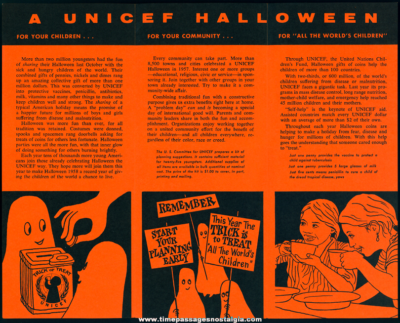 1958 United Nations International Childrens Emergency Fund UNICEF Halloween Holiday Advertising Brochure