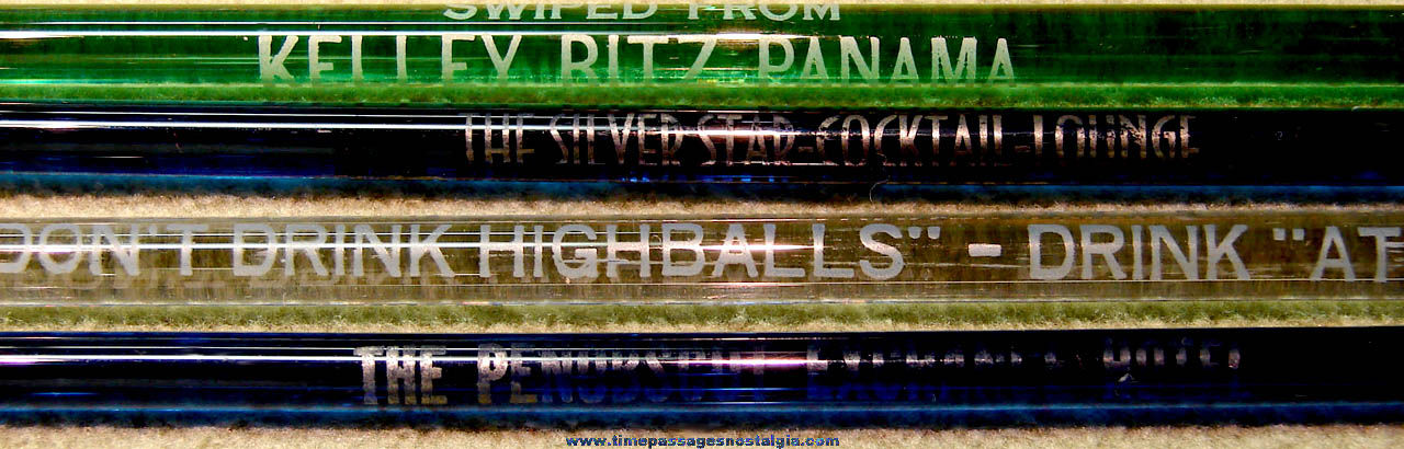 (4) Different Colorful Old Advertising Glass Drink Swizzle Sticks