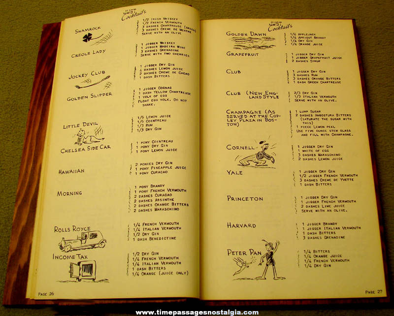 ©1939 Just Cocktails Bar Alcohol Drink Recipe Book