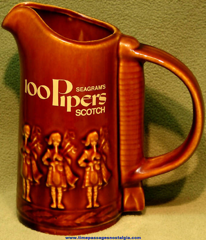 Seagram's 100 Pipers Scotch Whisky Advertising Premium Drink Pitcher