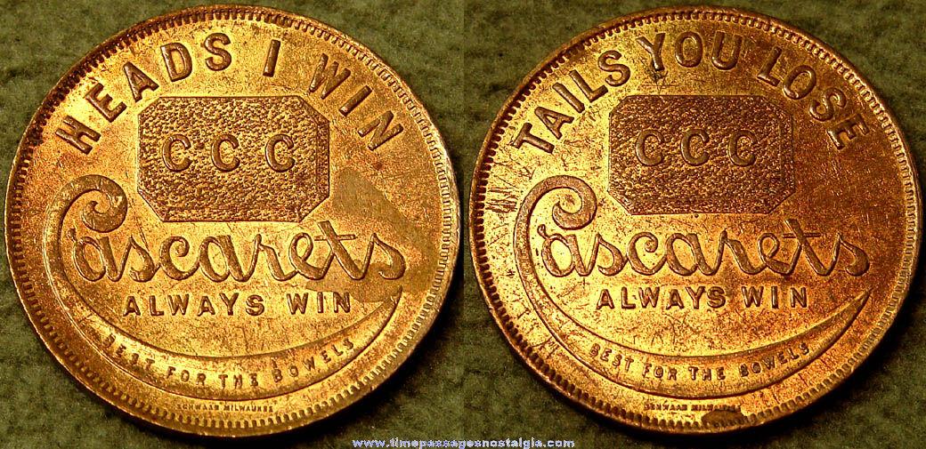 Old Brass Cascarets Medicine Advertising Premium Token Coin