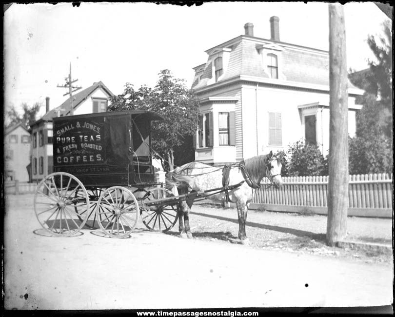 Early Small & Jones Tea & Coffee Advertising Horse Delivery Wagon Glass Photograph Slide