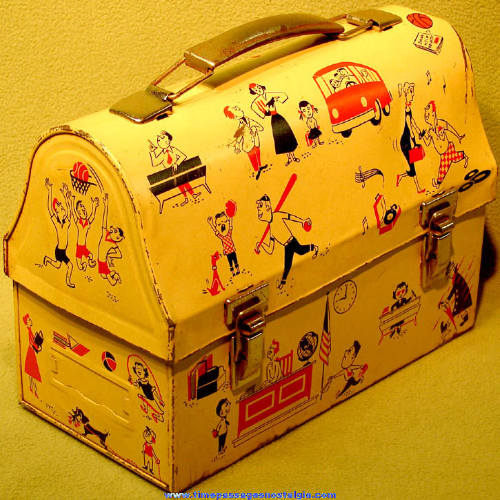 Colorful Old School Days Dome Top Metal Lunch Box