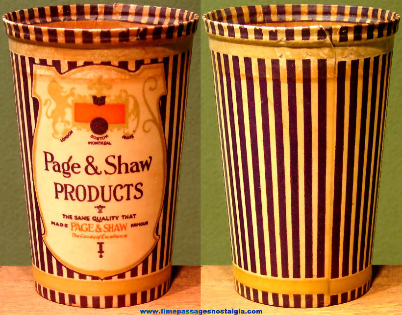Colorful Old Page & Shaw Candy Advertising Imprinted Waxed Cup