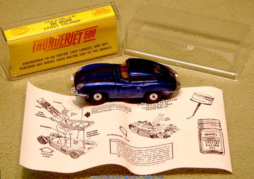 Boxed 1960s Candy Colored Blue XKE Jaguar Aurora Thunderjet 500 Slot Car