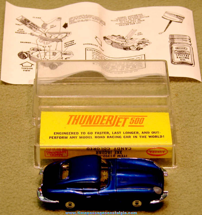 Boxed 1960s Candy Colored Blue XKE Jaguar Aurora Thunderjet 500 Slot Car