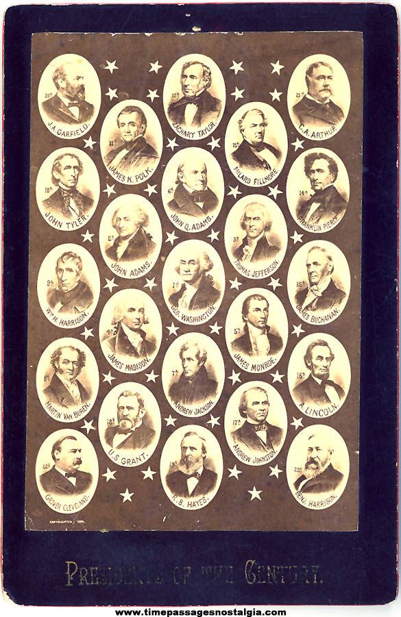 1800s United States President Cabinet Photograph Card