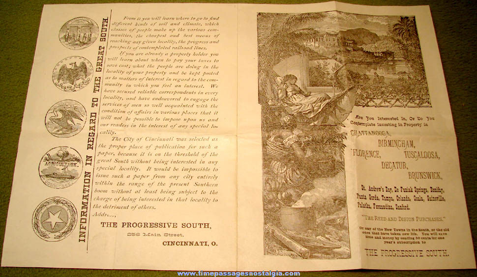 (3) 1800s Progressive South Publisher Advertising Mailer Paper Items