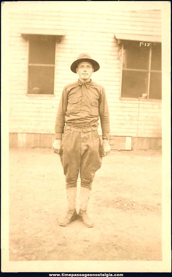 Unused World War I U.S. Army Soldier Doughboy Real Photo Post Card