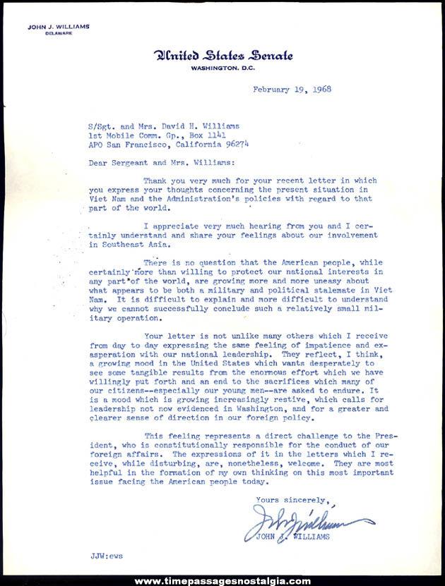 1968 U.S. Senator John Williams Letter & Envelope to U.S. Army Vietnam Soldier
