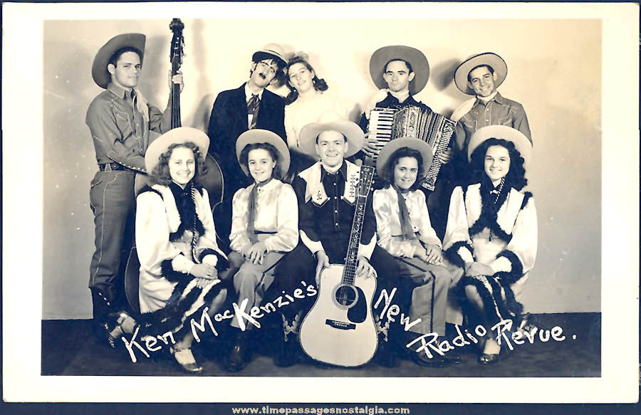 Old Ken MacKenzie's New Radio Revue Country Music Advertising Real Photo Post Card