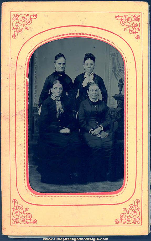 1800s Tintype Photograph of (4) Women In Original Paper Frame Folder