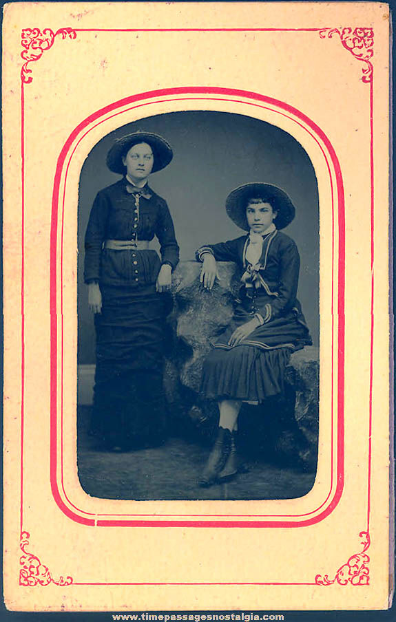 1800s Tintype Photograph of (2) Young Women In Original Paper Frame Folder